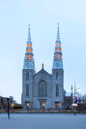 Exterior landscape view of a church in Ottawa, Canada