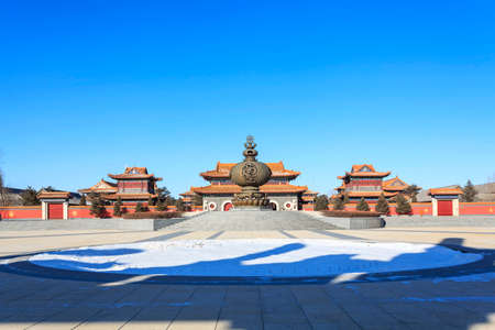 Changchun Wanshou Temple building incense burner Hall Foto de archivo