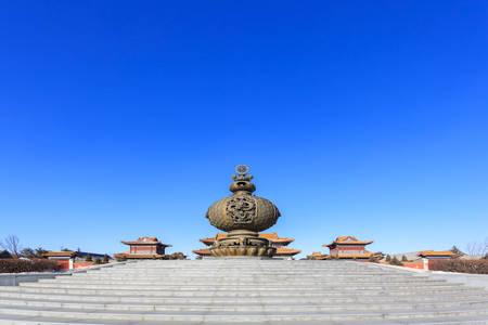 Changchun Wanshou Temple building incense burner Hall Archivio Fotografico