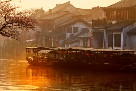 The ancient town of Xitang ancient residence wupengchuan sunrise Redactioneel