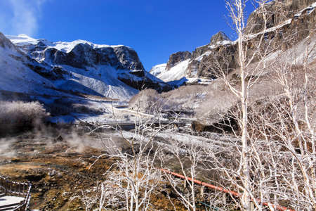 Autumn Changbai Mountain Snow View with Hot Spring Mist