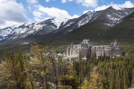 Banff Castle Hotel with Snow Mountain scenery