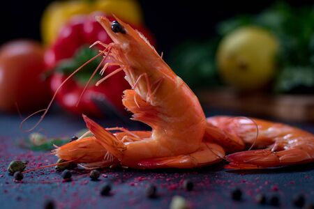 Roasted (fried) big shrimps in tomato oil, garlic, cilantro and soy sauce... - Image