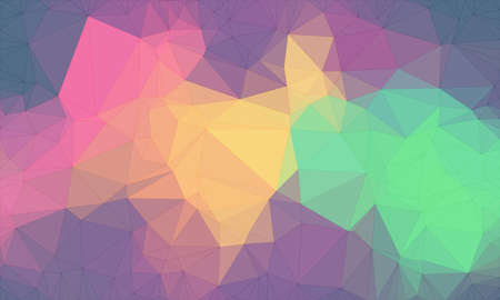 Illustration background in geometric pattern with polygonal style in color pink and green and orange and yellow and dark and light purple.