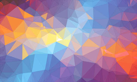 Low poly background design in geometric pattern. polygon wallpaper in origami style. polygonal texture illustration in color light blue and orange and purple and dark blue and dark purple