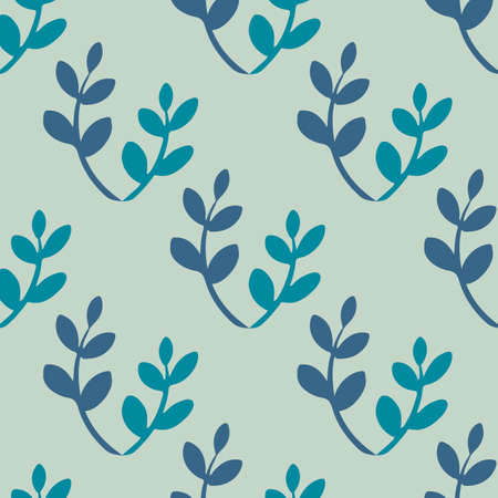 illustrators: Blue leaves pattern