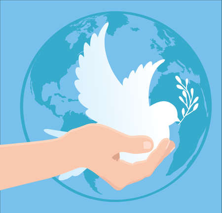 International Peace Day - globe - pigeon - hand - vector