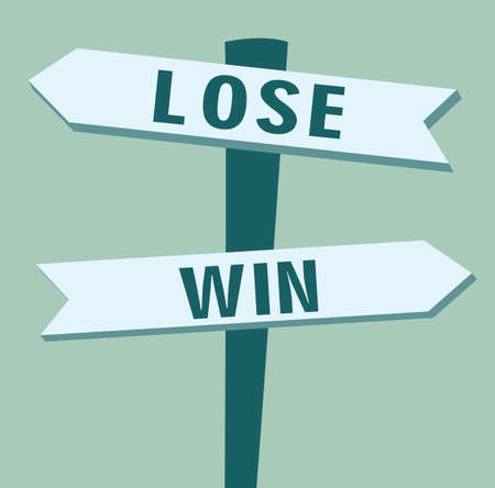 In Front Of A Choice: Lose or Win - Flat Illustration
