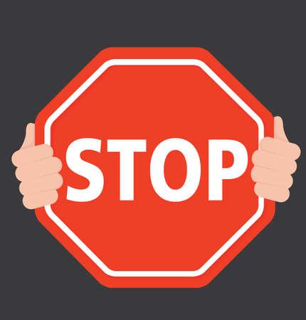 Hands Holding Stop Sign - Holding Stop Sign - Black Background - Vector Flat - Illustration
