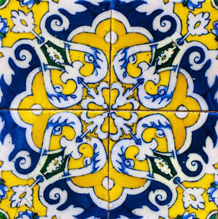 spanish style: Old Ceramic Tile - Spanish Style Ceramic Texture Background Stock Photo