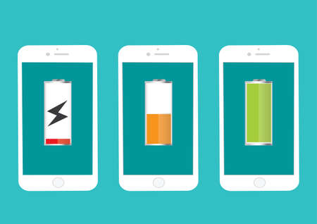 low energy: Battery Mobile Phone Full And Low Energy Vector Illustration Flat - Illustration