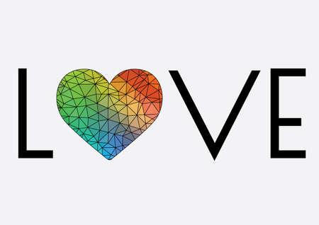 Word Love With Rainbow Heart - Rainbow Love Heart Background Stock Illustration -