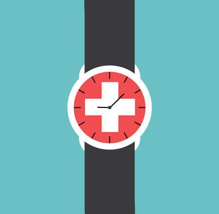 chrome man: Watch Clock Swiss Flag Vector Illustration Flat Stock -
