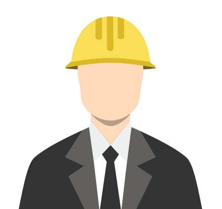 Engineer Architect Business Man Isoalated Flat Icon Vector Stock - Business Man Architect Builder Yellow Helmet