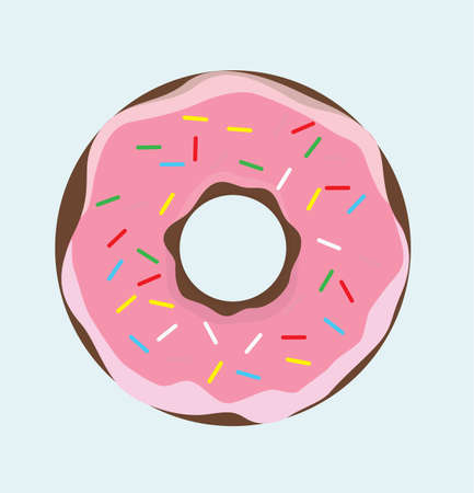 Doughnut With Pink Creme - Donut Caramel - Sweet Food Donut Cartoon Vector Illustration Icon Sign Isolated