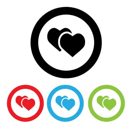 cartoom: Hearts Icon With Four Color Variations Cartoom Flat Cute Modern Stock Illustration Illustration