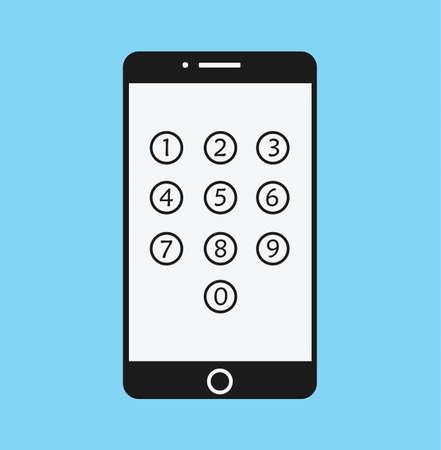 passcode: Phone Lock Cartoon - Smartphone Numeric Passcode Screen Flat Illustration Stock