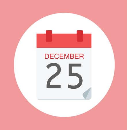 december 25: Colorful Calendar Icon Sign - Calendar 25 December For  Templates, Sites - Flat Web Internet Illustration Stock