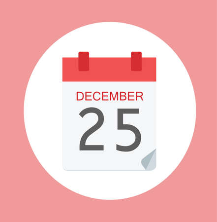 Colorful Calendar Icon Sign - Calendar 25 December For  Templates, Sites - Flat Web Internet Illustration Stock
