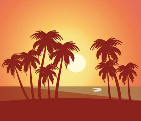 Beach summer lanscape natural scenic - Beach with trees lanscape sea scenery sunset scenery vector illustration stock flat