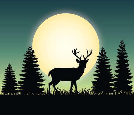 Deer forest landscape scenic natural - deer forest landscape scenery vector illustration flat stock