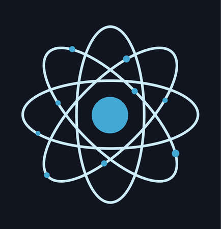 symbole chimique: Atom pictograph science - chemical symbol of atom vector sign illustration stock
