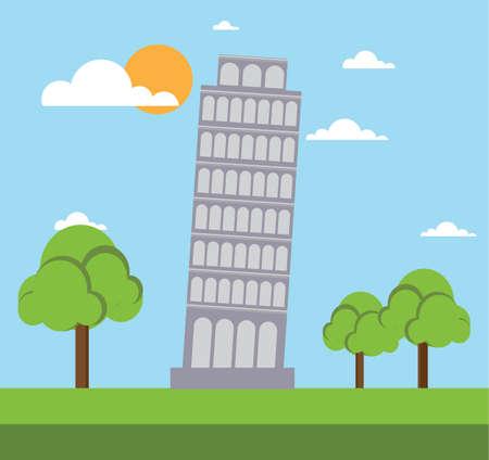 leaning tower of pisa: leaning tower of pisa flat style design vector illustration stock