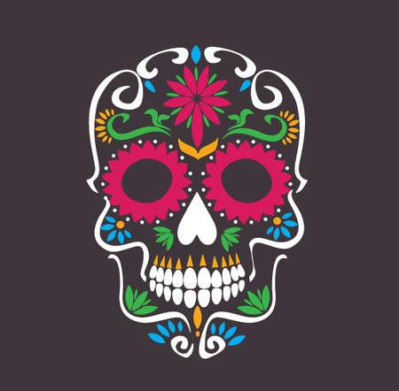 skull lotus flowers - macabre sugar skull tattoo style vector illustration stock
