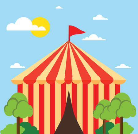 Classical circus tent landscape icon flat design illustration vector stock