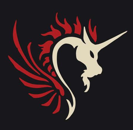 Dragon unicorn emblem fantasy animal background logo vector design stock