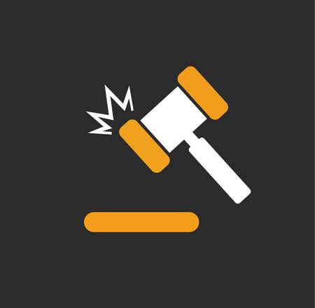 Hammer judge gaval legal icon logo symbol vector stock