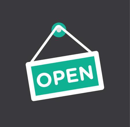 opening door: Open store icon symbol - door opening flat icon vector stock