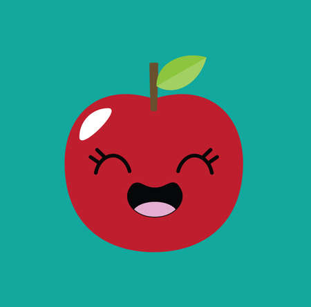 article icon: Apple kawaii cartoon kid icon design vector stock Illustration