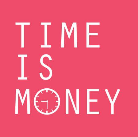 El tiempo es dinero, diseño de mensaje de texto, vector de color rosa