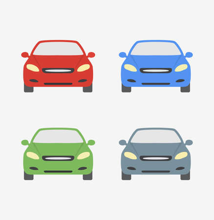 hatchback: Cars different colors isolated cartoon icon vector stock