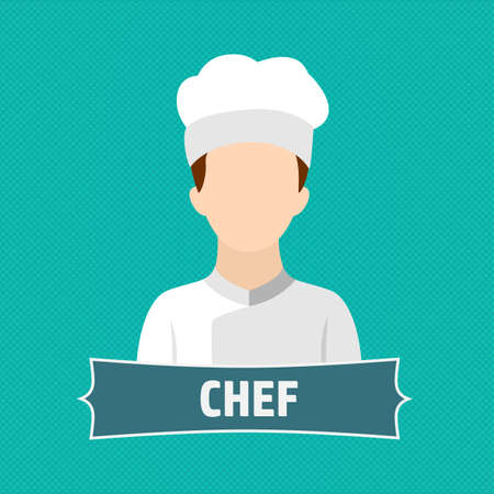 Chef cooking hat uniform bad restaurant logo vector illustration stock