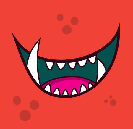 Monster open mouth face teeth cartoon avatar vector illustration stock Illustration