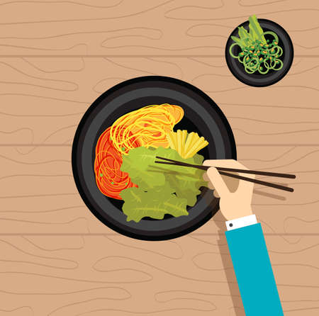 kilos: Asian food korean vegetable oriental hand eat flat vector design stock