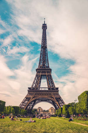 The Eiffel Tower in Paris, France. Eiffel Tower, the symbol of Paris. Eiffel Tower in spring time. Photo stock.