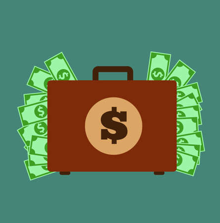 counterfeit: Money Suitcase. Suitcase with money concept. Vector stock.