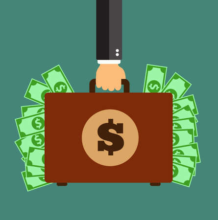counterfeit: Businessman hand holding briefcase with money. Vector stock.