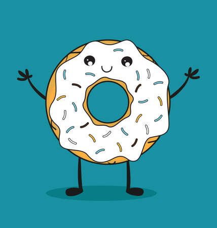 article icon: Delicious donut comic character. Kawaii donut. Vector stock. Illustration
