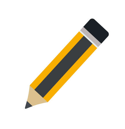 writing instruments: Pencil with eraser. Pencil isolated on a white background. Flat design. Vector stock.