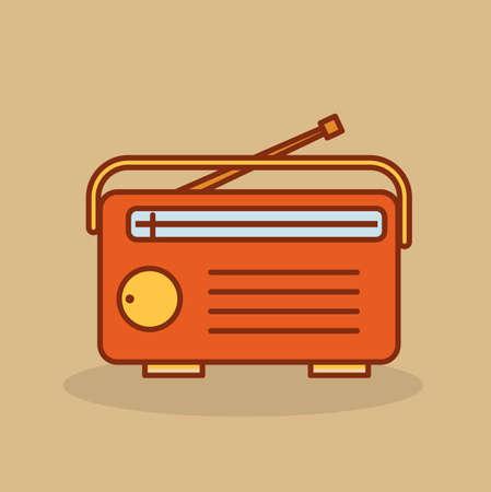 fm: Cute retro radio. Old radio in cartoon style. Vector stock.