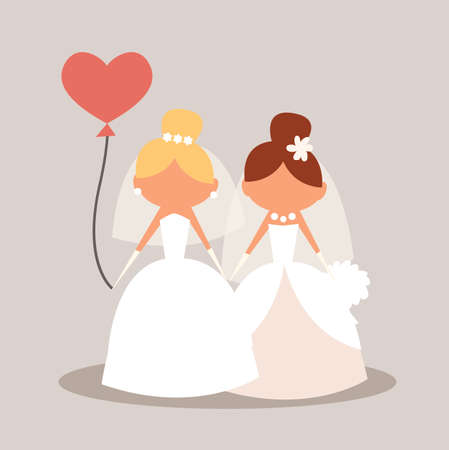 Lesbian Wedding couple holding hand. Character cartoon. Vector stock.