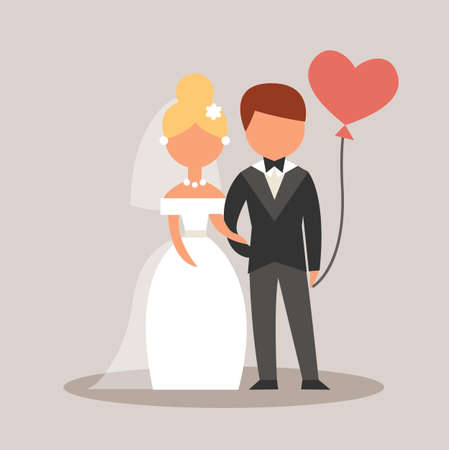 Wedding couple holding hand. Character cartoon. Vector stock.
