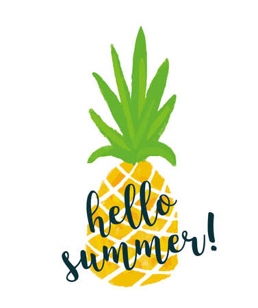 Pineapple with text Hello summer. Ananas summer background. Vector stock.