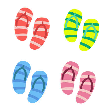 Slippers set of male and female with multicolored slippers isolated on white background. Vector stock.