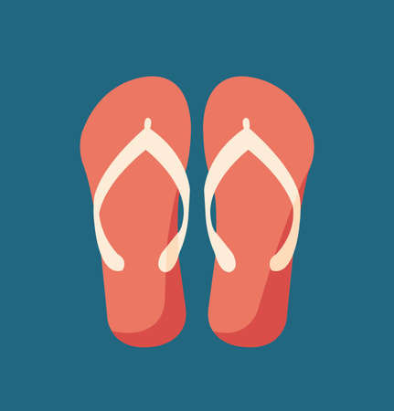 Red slippers. Slippers design in flat style. Vector stock. Иллюстрация