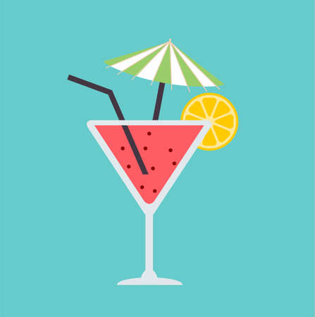 Cocktail in flat style. Cocktail party design. Vector stock.